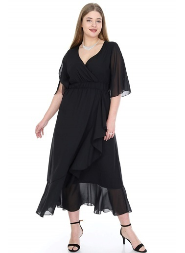 Angelino Butik Büyük Beden Şifon Uzun Elbise KL8020si Siyah